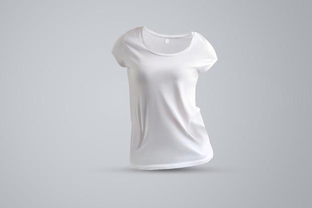 Universalmodell mit form des weißen weiblichen t-shirts ohne körper einzeln auf grauem hintergrund, vorderansicht. vorlage kann für ihre vitrine verwendet werden.