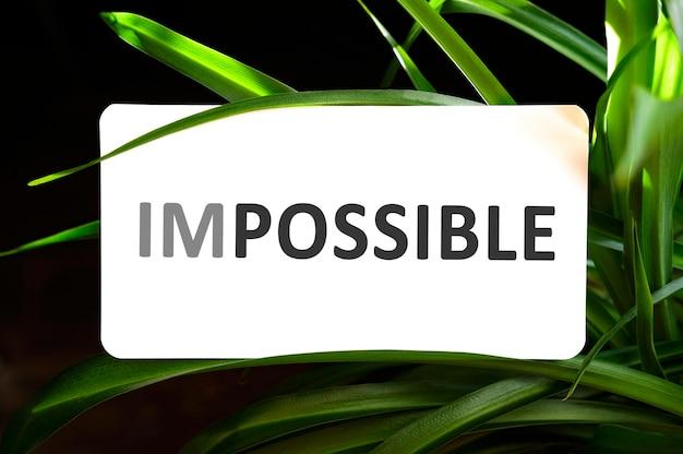Unmöglicher text auf weiß, umgeben von grünen blättern