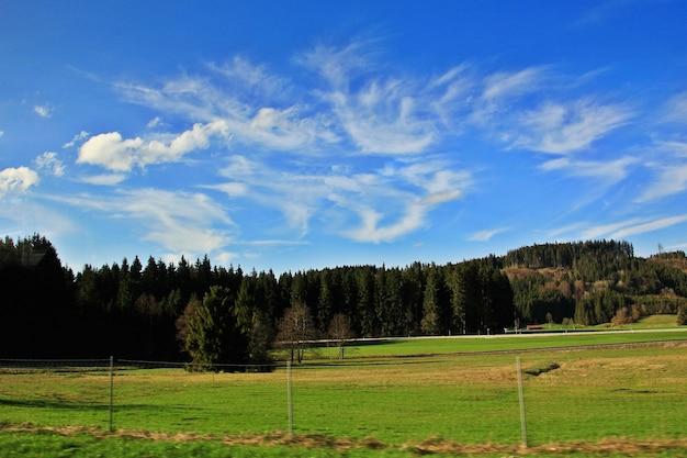 Unscharfer fokus der naturlandschaft des berges, des kiefernwaldes und des grünen feldes über einer zeit des dorfs in der schweiz im frühjahr.