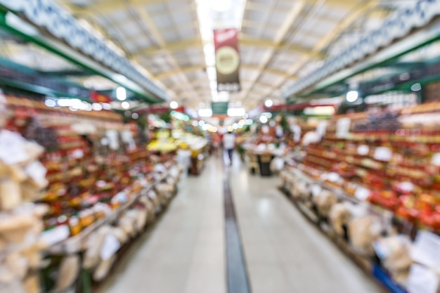 Unscharfer innenraum von curitibas städtischem markthintergrund