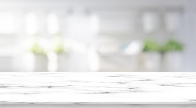 Unscharfer moderner innenbadezimmerquadrathintergrund mit weißer marmormustertischplatte