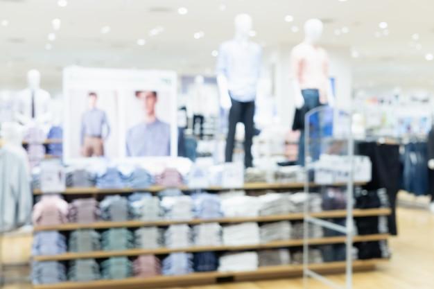 Unscharfes foto der mode-einkaufenzusammenfassung des modespeichers im einkaufszentrum.