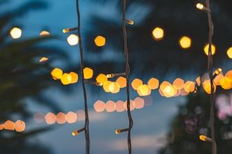 Unscharfes helles bokeh mit KokosnussPalmenhintergrund auf Sonnenuntergang