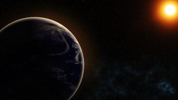 Unser planet erde, die sonne scheint vom weltraum aus gesehen auf den planeten erde
