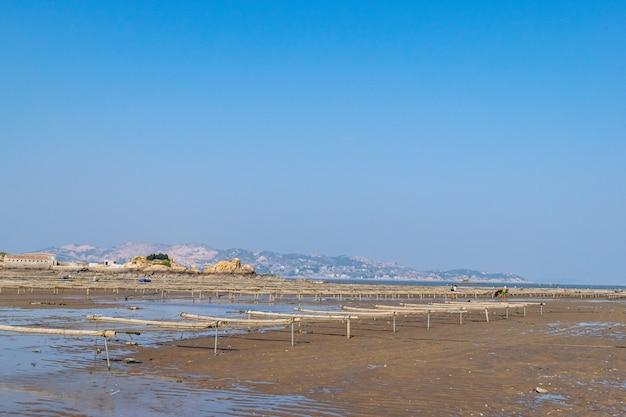 Unter dem blauen himmel sind die linien und texturen von bambusflößen und -seilen in der algenfarm am strand sehr ordentlich