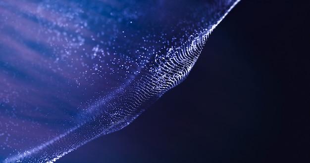 Unter wasserwelle von partikeln auf dunklem hintergrund. datentechnik abstrakte darstellung. futuristisches blau punktiert hintergrund. niedrige polyform mit verbindungspunkten. 3d-rendering. big data visualisierung