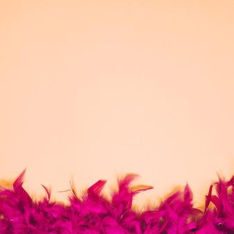 Untere grenze der dunklen rosa kleinen federn auf beige hintergrund