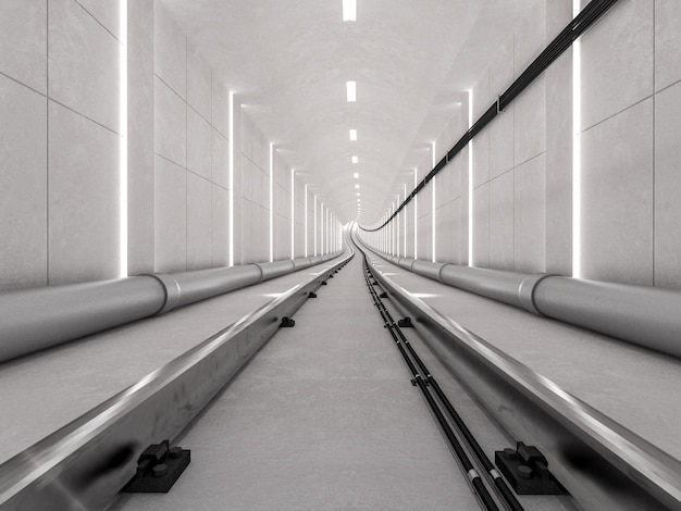 Untergrundbahntunnel mit heller bahn und ankommendem konzept, 3d übertragen.