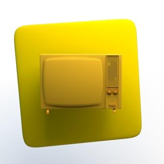 Unterhaltungsikone mit fernsehen auf lokalisiertem weißem hintergrund. 3d-darstellung. app.