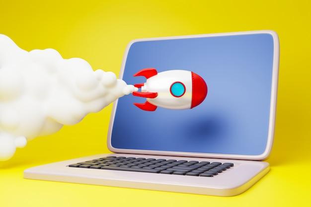 Unternehmensgründung, laptop und rakete
