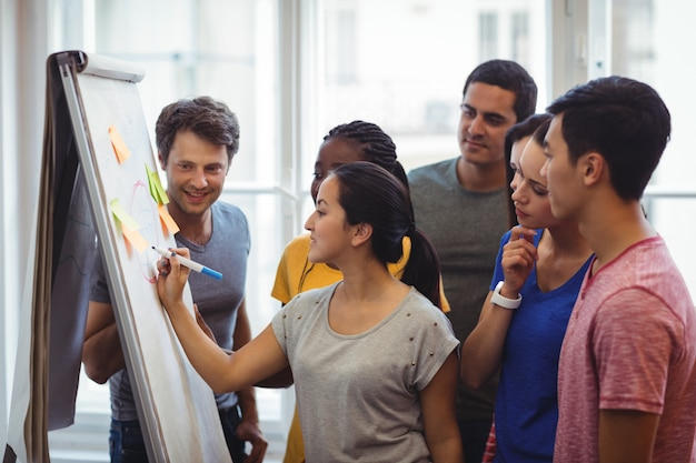 Unternehmensleiter ihre kollegen auf whiteboard zu erklären