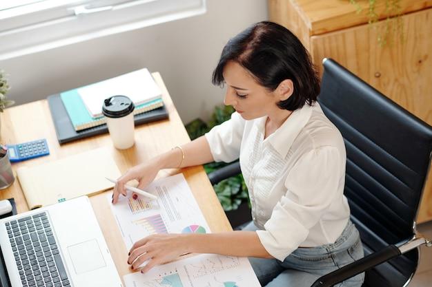 Unternehmerin, die den verkaufsbericht mit verschiedenen diagrammen und diagrammen auf dem tisch vor ihr analysiert