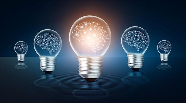 Unterschiedliche glühbirnen-idee viele glühbirnen sind in einer reihe angeordnet und eine davon leuchtet. konzeptidee
