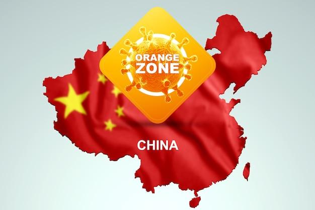 Unterschreiben sie mit der aufschrift orange zone auf dem hintergrund einer karte von china mit der chinesischen flagge. orange gefahrenstufe, coronavirus, sperre, quarantäne, virus. 3d-rendering, 3d-darstellung.