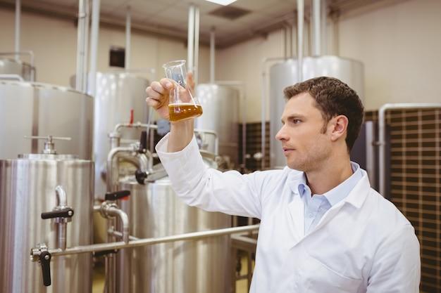 Untersuchungsbecher des fokussierten brauers mit bier