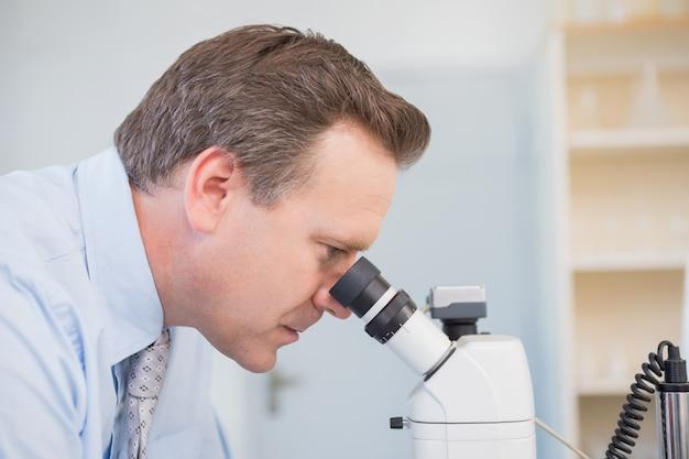 Untersuchungsmuster des wissenschaftlers mit mikroskop