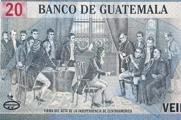 Unterzeichnung des gesetzes über die unabhängigkeit mittelamerikas von geld
