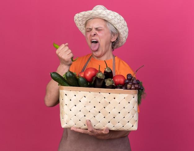 Unzufriedene ältere gärtnerin mit gartenhut streckt die zunge heraus, die gemüsekorb und paprika hält