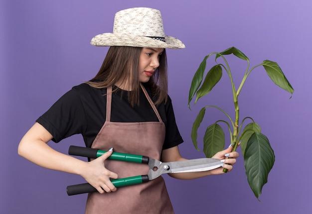 Unzufriedene hübsche kaukasische gärtnerin, die gartenhut hält, der gartenschere und pflanzenzweig auf purpur hält