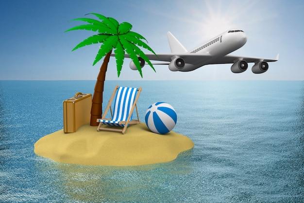Urlaub auf der insel. 3d-illustration