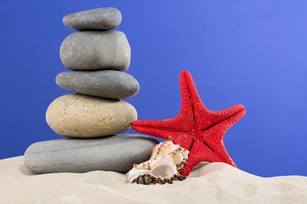 Urlaub mit rotmeerstern, steinen, muscheln