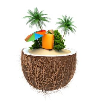 Urlaubskonzept. palme, koffer und regenschirm in einer kokosnuss