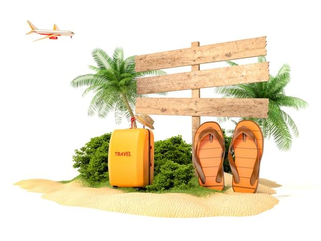 Urlaubskonzept. strand mit palme, koffer und flip flops