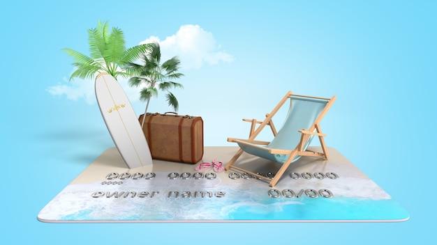 Urlaubssparkonzept zahlung von gutscheinen durch karten-chaiselongue-koffer und palmen stehen auf einem kreditkarten-3d-rendering auf blauem farbverlauf