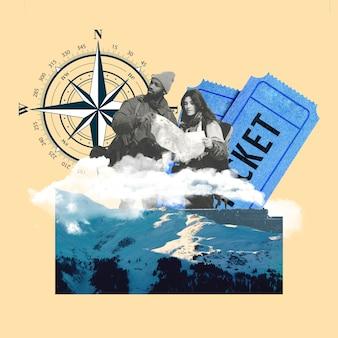 Urlaubsthema mit meereswellen, kompass und reisetickets. touristen auf der suche nach straße. exemplar. modernes design. zeitgenössische bunte und konzeptionelle helle kunstcollage, kunstcollage. visuelle kunst.