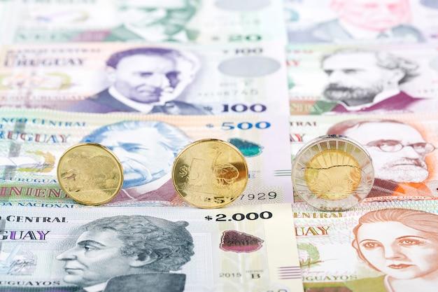 Uruguayischer peso prägt auf dem hintergrund von banknoten