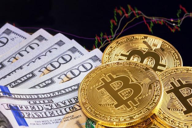 Us-dollar-bank und bitcoin, die auf anlage mit beweglichem diagramm des geldes im hintergrund sich setzen.