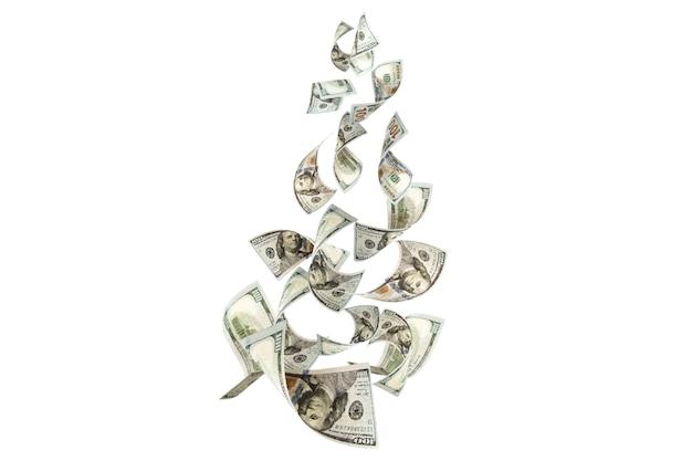 Us-dollar-banknoten, die antigravitation fliegen. investitions- und einsparungskonzept.