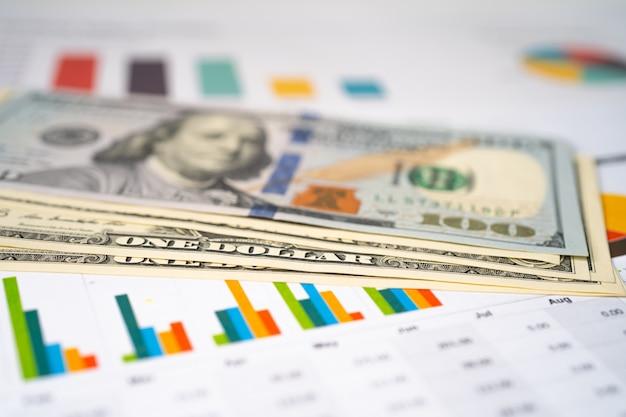 Us-dollar banknoten geld auf chart graph tabellenkalkulationspapier.