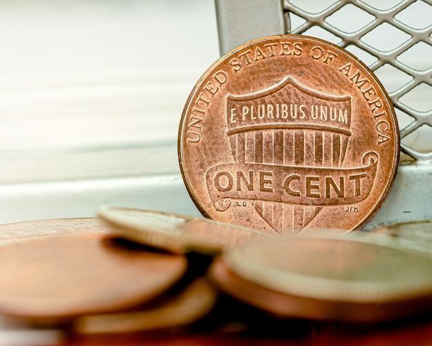 Us-dollar-münzen in nahaufnahmen