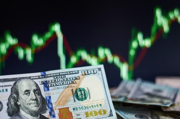 Us-dollar-scheine auf einem hintergrund mit der dynamik der wechselkurse. handels- und finanzrisikokonzept