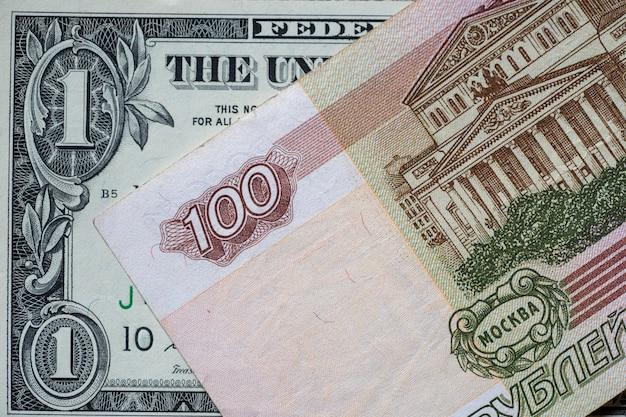 Us-dollar und russische rubel. unternehmenskonzept. dollar-rubel-wechselkurs.