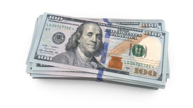 Us einhundert us-dollar-schein schließen nahaufnahme 3d-rendering