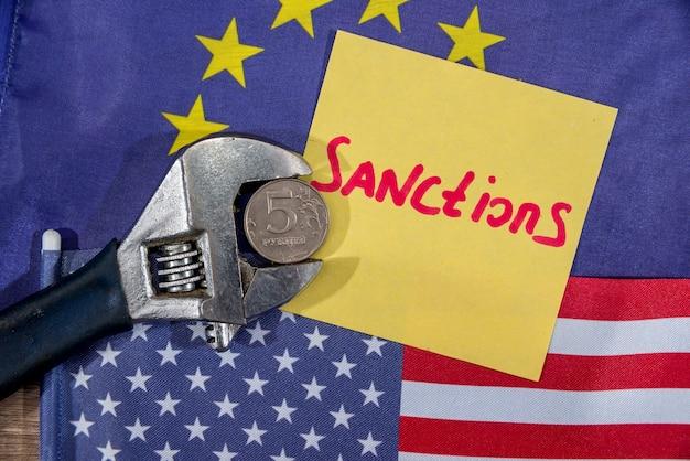 Us flagge. flagge der europäischen gemeinschaft. sanktionen der russischen