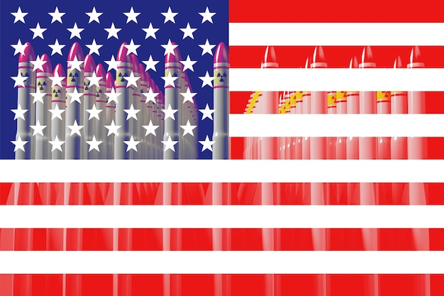 Us-flagge mit atombomben