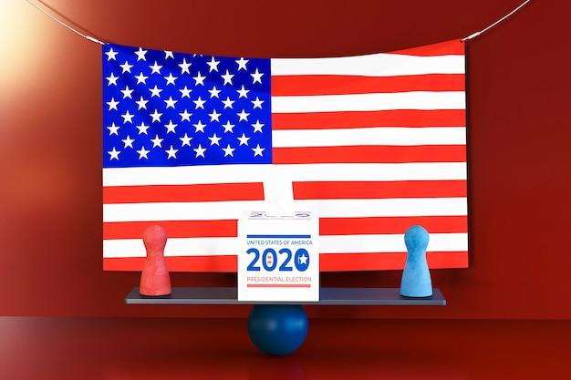 Us wahlkonzept mit amerikanischer flagge