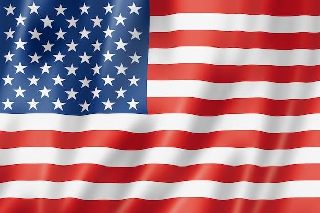 Usa-flagge, dreidimensional übertragen, satinbeschaffenheit