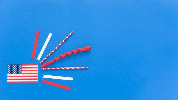 Usa-flagge mit festlichem dekor