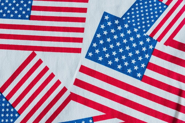 Usa-flaggen auf stoff gedruckt