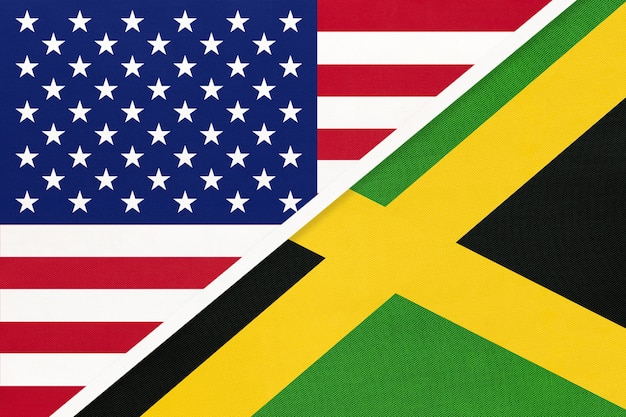 Usa gegen jamaika-staatsflagge. beziehung zwischen zwei ländern.