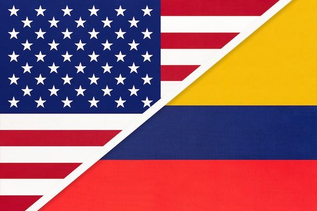 Usa gegen kolumbien nationalflagge. beziehung zwischen zwei ländern.