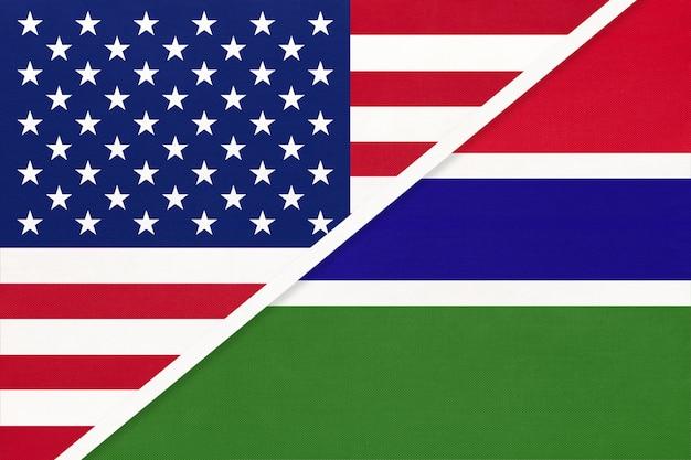 Usa gegen republik gambia nationalflagge aus textil.