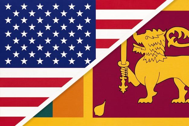 Usa gegen staatsflagge der republik sri lanka vom gewebe. beziehung zwischen zwei amerikanischen und asiatischen ländern.