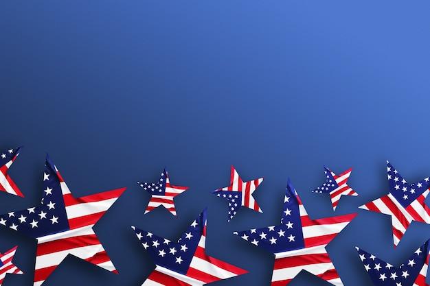 Usa-hintergrund mit dekorierten sternen der amerikanischen flagge. draufsicht auf feiertagsmuster. flaches banner