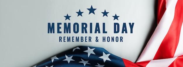 Usa memorial day und independence day konzept, flagge der vereinigten staaten von amerika