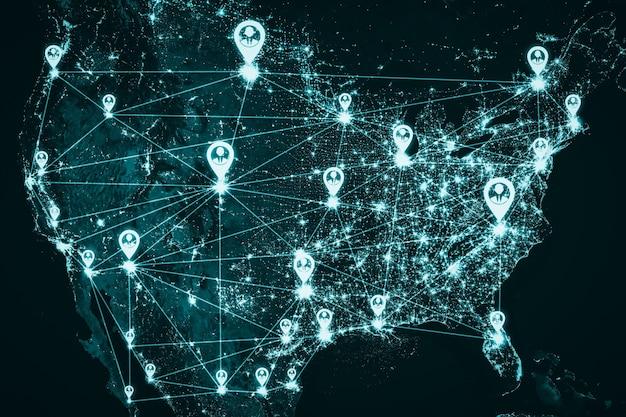 Usa people network und nationale verbindung in innovativer wahrnehmung